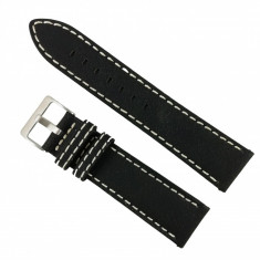Curea de ceas din piele naturala Neagra, cusatura alba - 22mm WZ2888