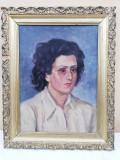Portret, pictură în ulei pe placaj, nesemnata. Anul 1957
