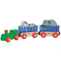 Set de Joaca Tren din Lemn Animal cu 2 Figurine