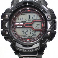 Ceas de mana barbati sport, negru si LED - MF8338G
