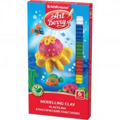 Plastilina ArtBerry cu Aloe Vera 6 culori cutit modelaj