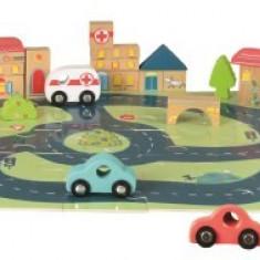Puzzle gigant oras Egmont cu vehicule si cuburi