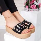 Papuci dama cu platforma negri cu bej Paricela