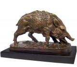 Porc mistret - statueta din bronz pe soclu din marmura KF-15
