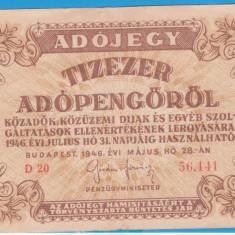 (6) BANCNOTA UNGARIA - 10.000 ADOPENGO 1946 (31 IULIE 1946)