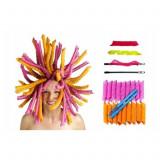 Set 16 Bigudiuri Mari Spiralate Multicolore, Magic Roller Leverag pentru Bucle