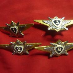 Set 4 Insigne Piloti Militari clasele 1,2,3 si M URSS ,L=7cm ,metal si email