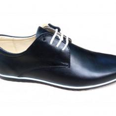 Pantofi negri barbati sport - casual din piele naturala - 880NBOX