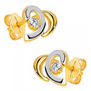 Cercei din aur de 14K - arc bicolor decorat cu diamant