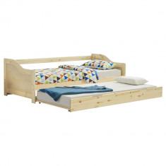 Canapea Sofia cu pat suplimentar extensibil, 205 x 97 x 66 cm, 100 kg, lemn de brad, culoarea lemnului natur
