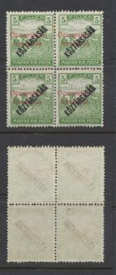 1919 ROMANIA emisiunea ARAD 5 filler Seceratori Koztarsasag bloc 4 original MNH foto