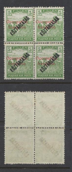 1919 ROMANIA emisiunea ARAD 5 filler Seceratori Koztarsasag bloc 4 original MNH