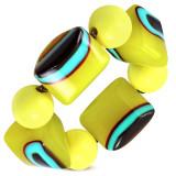 Brățară elastică - bile galbene, mărgele din sticlă, ochi maro-turcoaz