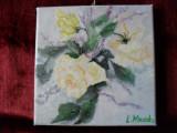 Trandafiri 4-pictura ulei pe panza, Flori, Altul