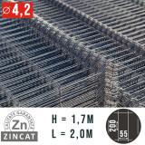 Cumpara ieftin Panou gard bordurat zincat, 1700X2000 mm, diametru 4.2 mm