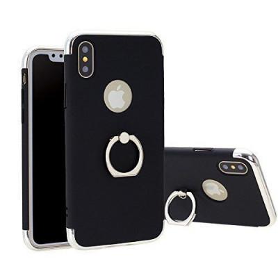 Husa Apple iPhone X, Elegance Luxury 3in1 Ring Negru foto