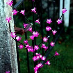 Decoratiune Luminoasa Crenguta cu Baterii 72 LED -uri Flori Roz