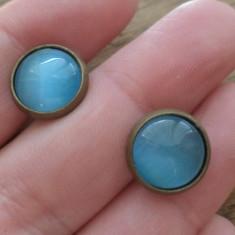 Cercei surub/fluture/ baza bronz - ochi de pisica bleu