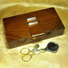 Humidor Mid Century Modern, lemn mahon, cupru, argint, colectie