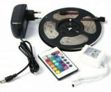 Banda Led RGB Multicolora, Telecomanda , Transformator 2A , Lungime 5m