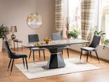 Cumpara ieftin Set masa extensibila din MDF, ceramica si metal Cortez Gri + 4 scaune tapitate cu stofa Piano Velvet Gri / Negru / Auriu, L160-210xl90xH76 cm