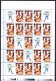 Romania 2001, LP 1548 b, Hagi, coli de 18 marci + 7 vignete, MNH! LP 180,00 lei, Sport, Nestampilat