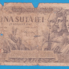 (21) BANCNOTA ROMANIA - 100 LEI 1947 (27 AUGUST 1947)