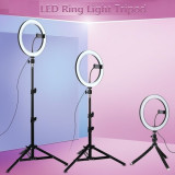 Ring Light 26cm lumina rece/calda - trepied si suport - pt makeup, vlog, tik-tok