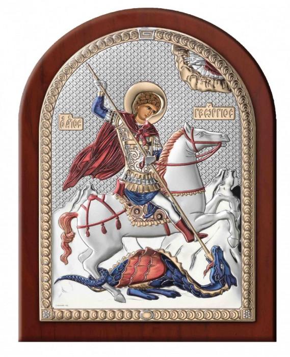 Icoana Sf.Gheorghe ClassGifts pe Foita de Argint 925 cu Auriu si Color 14.5x18.5cm Cod Produs 1699