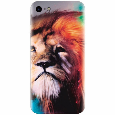 Husa silicon pentru Apple Iphone 5c, Awesome Art Of Lion foto