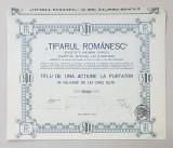 ' TIPARUL ROMANESC ' - SOCIETATE ANONIMA GRAFICA - TITLU DE UNA ACTIUNE LA PURTATOR IN VALOARE DE LEI CINCI SUTE , EMIS IN 1924