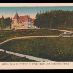 1930 Romania CP Castelul Regal de Vanatoare in Poiana Itcani, Domeniile Coroanei, Campulung Moldovenesc, Circulata, Printata