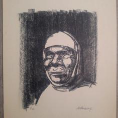 Cap de batrana// litografie Marcel Chirnoaga, exemplar de artist, Arbori, Ulei, Altul