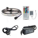 Kit Banda Led RGB 5050 IP20 5 Metri Controller IR Cu Telecomanda 44 Taste – Transformator 36W
