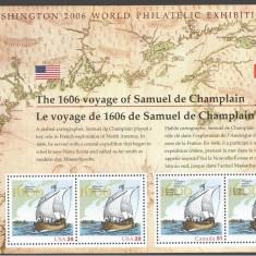 Emisiune comuna SUA- Canada, nave, harti,  bloc, 2006, MNH**