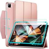 Cumpara ieftin Set husa si folie de protectie ESR Ascend Trifold compatibil cu iPad Pro 12.9 inch (2021) Rose Gold