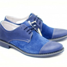Pantofi albastri barbati casual - eleganti din piele naturala intoarsa