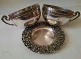 Cupe pereche de inghetata+farfurie alune, cadou alta frf. pt alune, lot argintat, Cesti