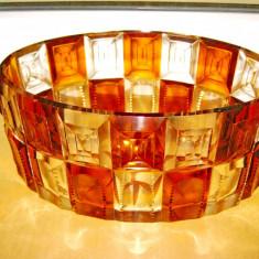 B218-Fructiera fatetata cristal Art Deco veche cu roza vanturilor.