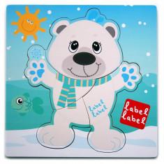 Puzzle din lemn Label-Label Urs Polar