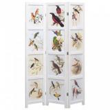 Paravan de cameră cu 3 panouri, alb, 105 x 165 cm, păsări, vidaXL