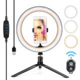 Lampa circulara pentru Make-Up sau Selfie, cu trepied si telecomanda.