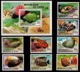 Zaire 1980 Tropical fish set + pef sheet MNH M.228, Nestampilat