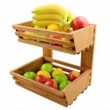 Suport din lemn pentru legume si fructe pe 2 nivele