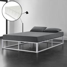 Pat rama metalica cu saltea Vily, 180 x 200 cm, otel/spuma rece, alb, pentru 2 persoane
