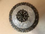 Plafoniera,lampa englezeasca de tavan,din bronz,abajur din sticla