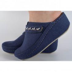 Papuci de casa MUBB bleumarin din lana cu platforma (cod 6622)