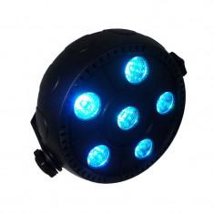 Proiector joc de lumini PAR 6, 6 W, LED RGB, Negru
