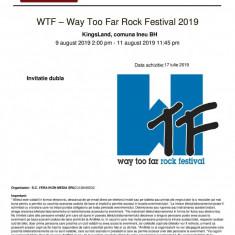 "URGENT! De vânzare 2 bilete-abonamente la ""Way Too Far Rock Festival"""