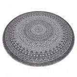 Covor sisal Loft 21207 Rozetă Boho cerc fildeş argintiu gri, cerc 120 cm